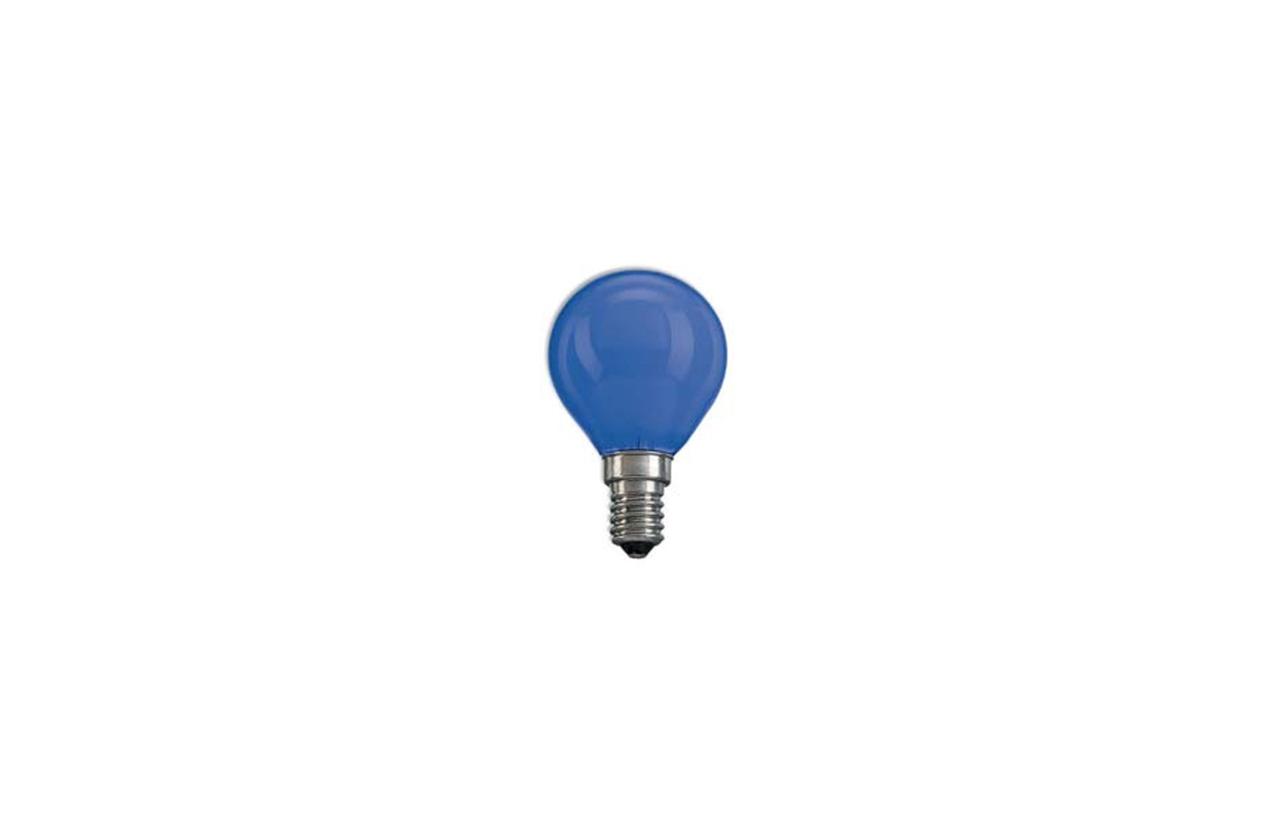 Lâmpada incandescente esférica azul E14 25W