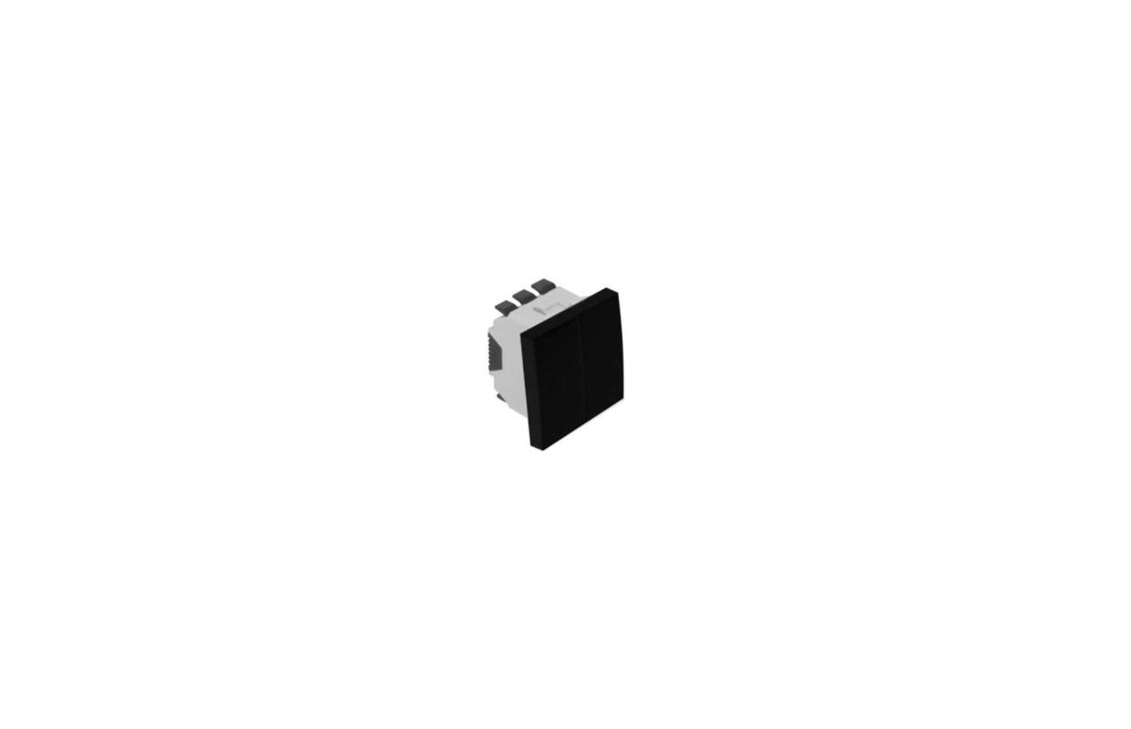 Comutador de lustre preto mate 2 módulos Quadro 45