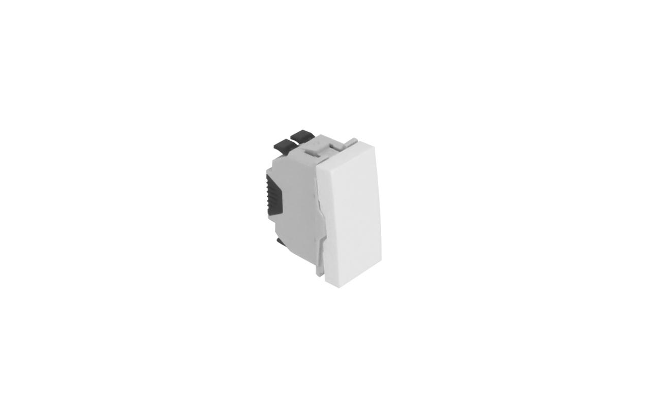 Comutador de escada branco mate 1 módulo Quadro 45