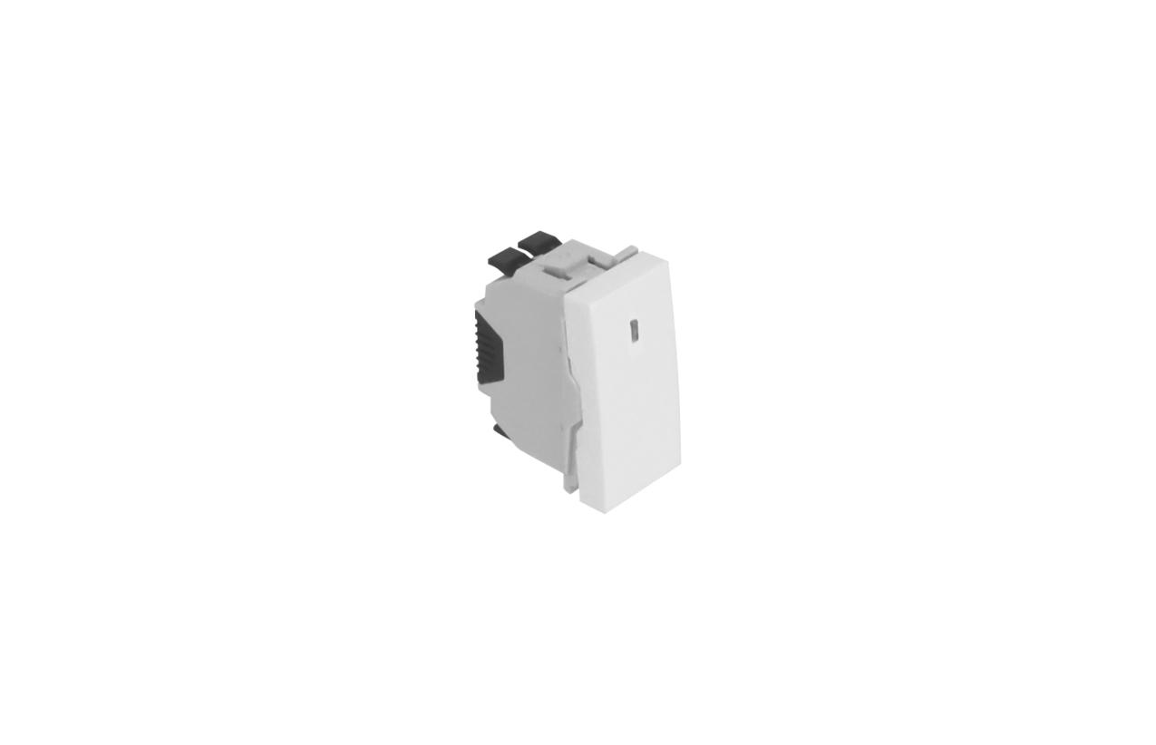 Comutador de escada branco com sinalização 1 módulo Quadro 45