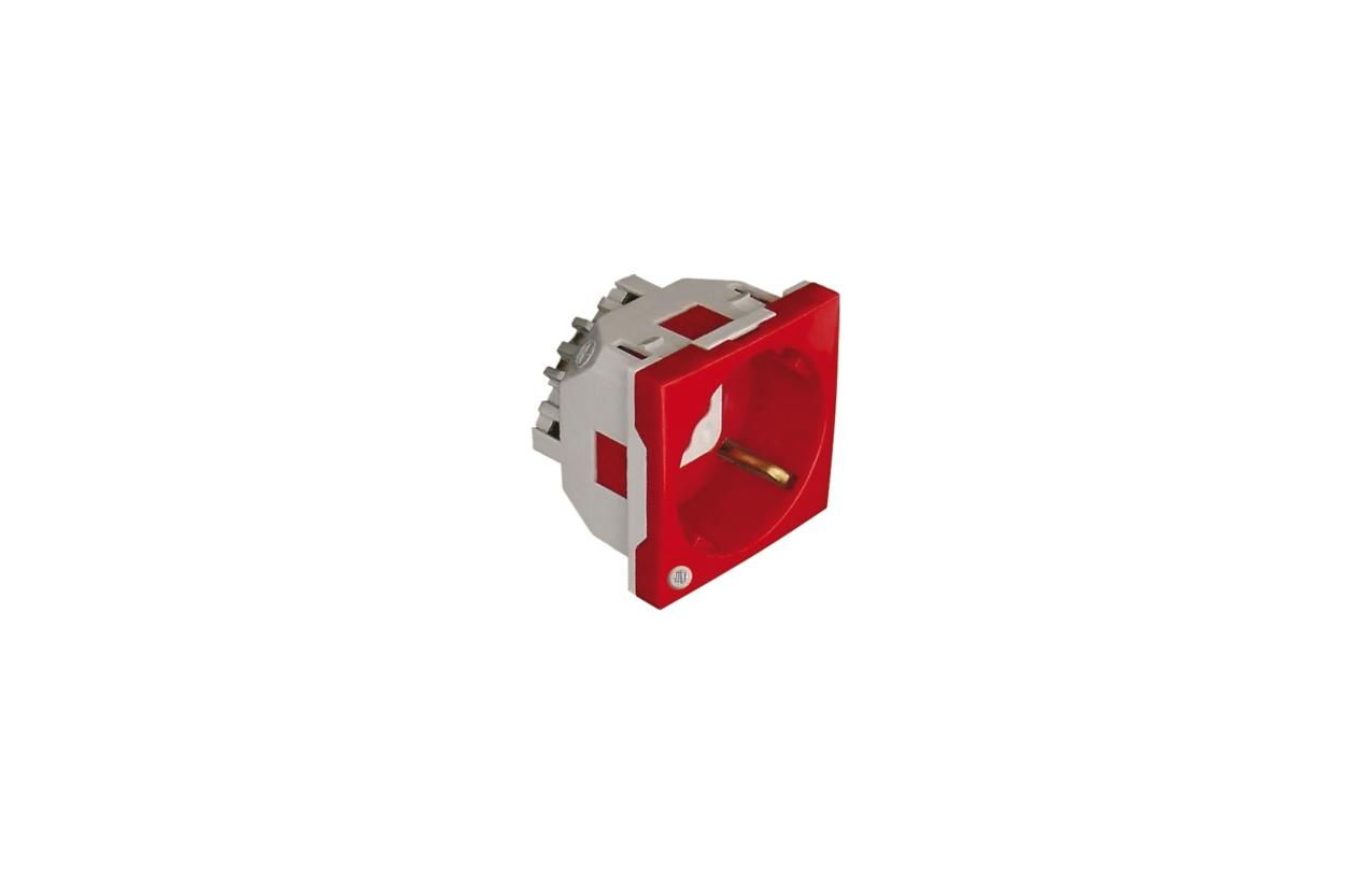 Tomada Schuko 2P+T vermelho com encravamento e sinalização 2 módulos Quadro 45
