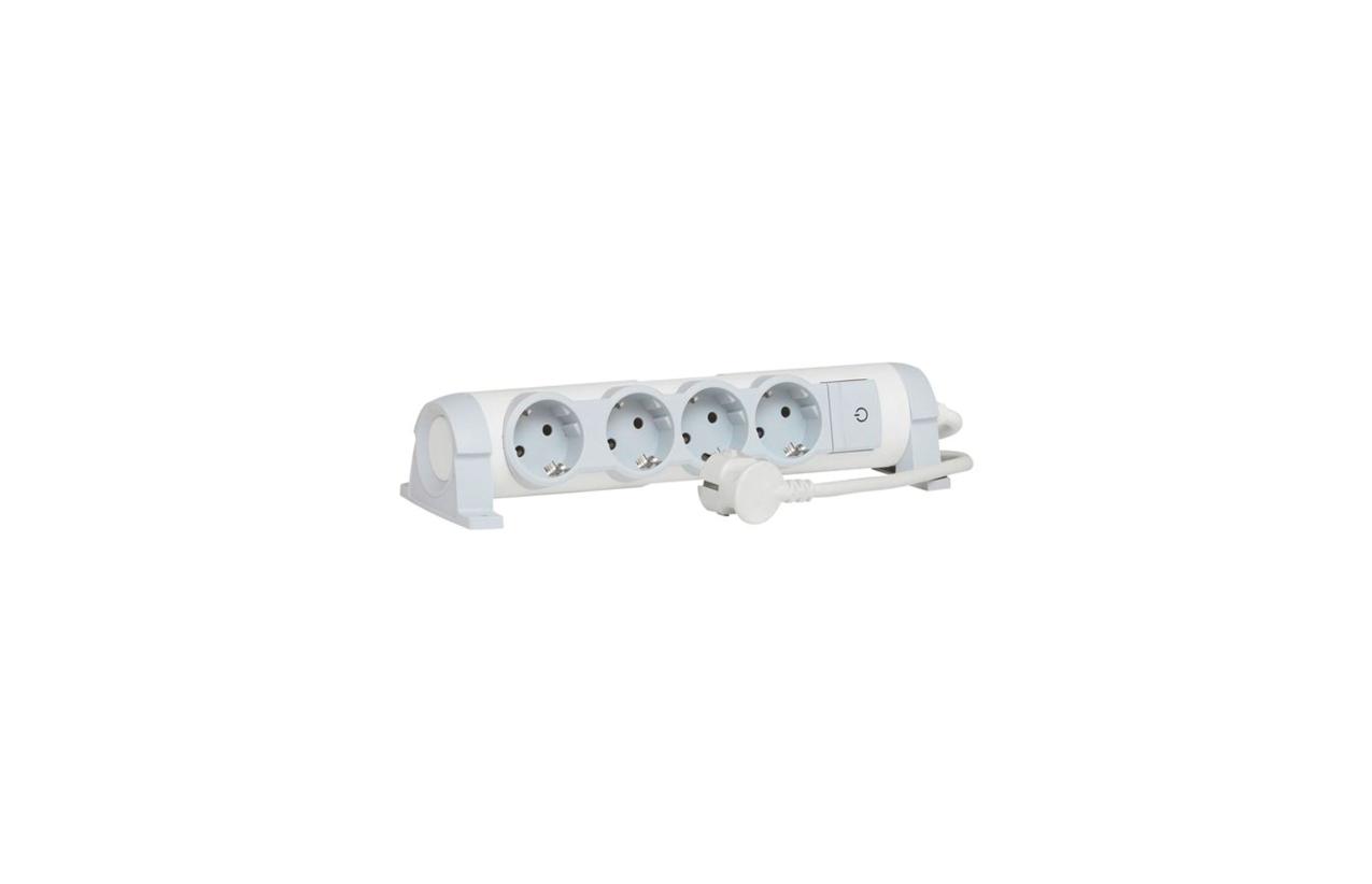 Bloco multitomadas 4x2P+T rotativo com interruptor e cabo 1,5m