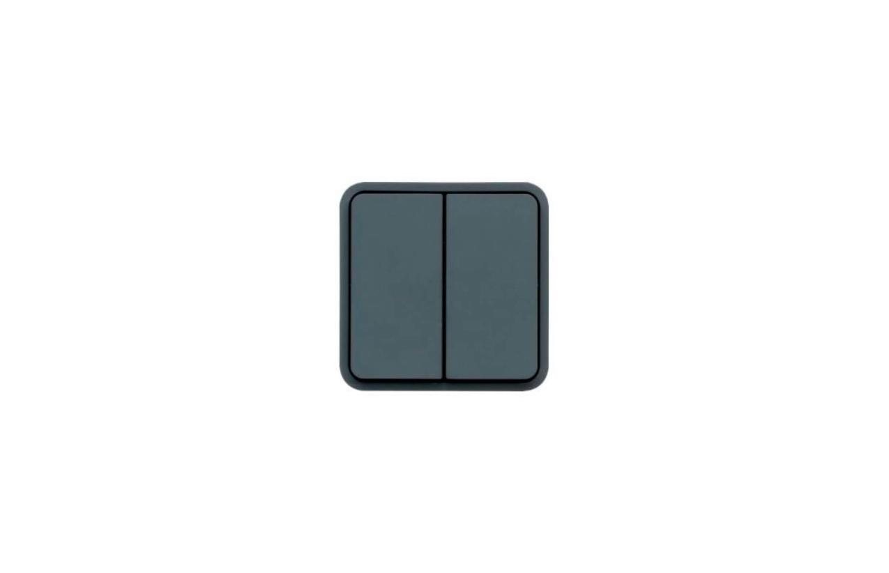 Comutador escada duplo saliente cinzento cubyko WNC040