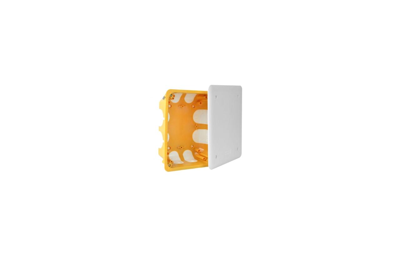 Caixa de aparelhagem retangular com tampa e entradas flexíveis KO 180/LDNA