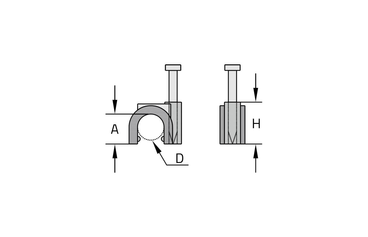 Abraçadeira curva com prego (6mm)