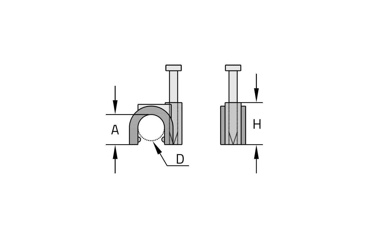 Abraçadeira curva com prego (16mm)