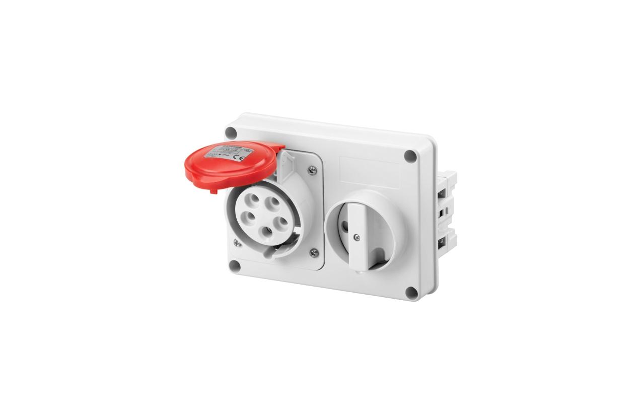 Tomada horizontal com interruptor série IB sem fundo IP44 32A 400V 3P+N+T GW66120