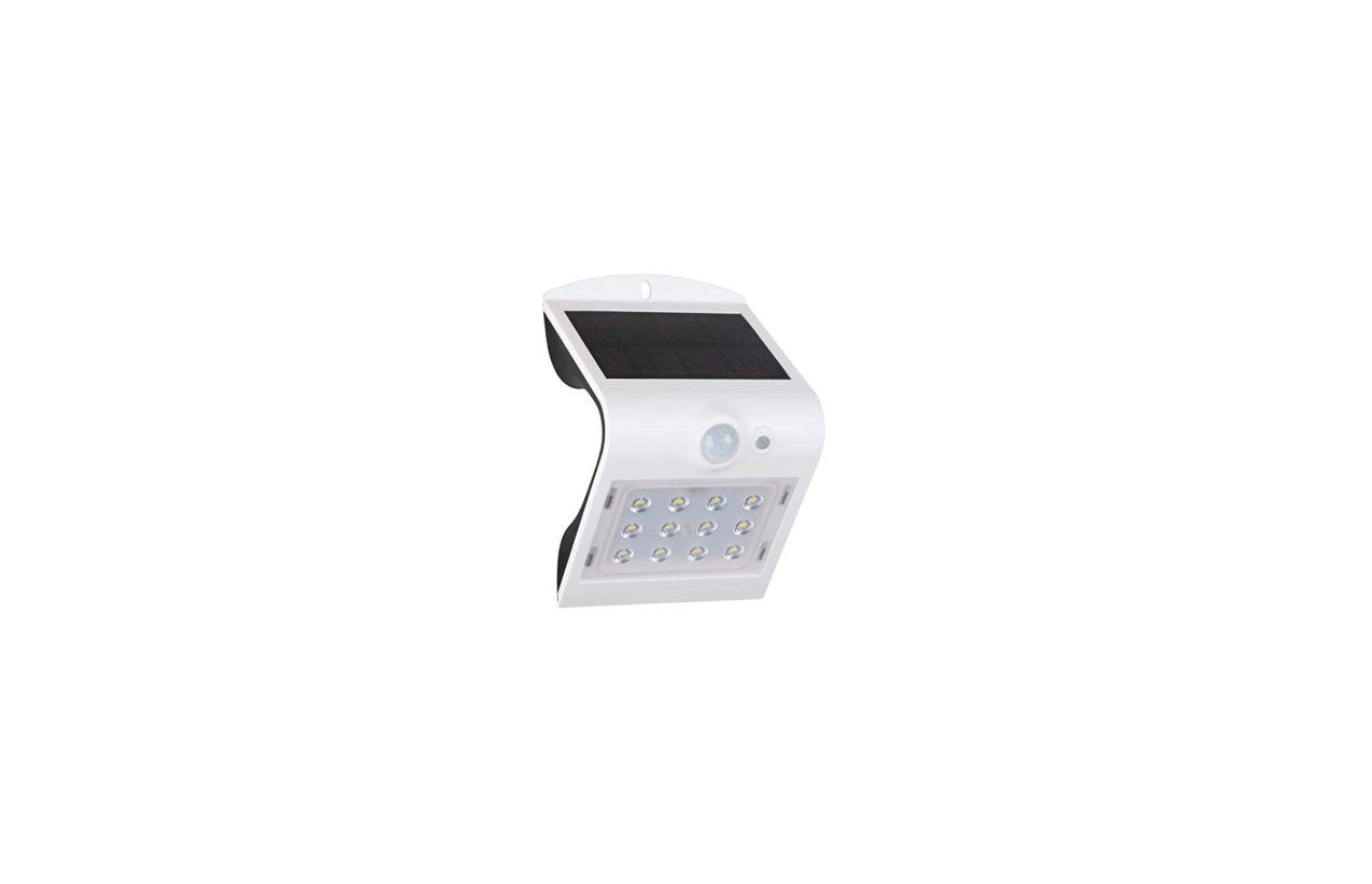Aplique LED solar 1,5W branco com detetor movimento