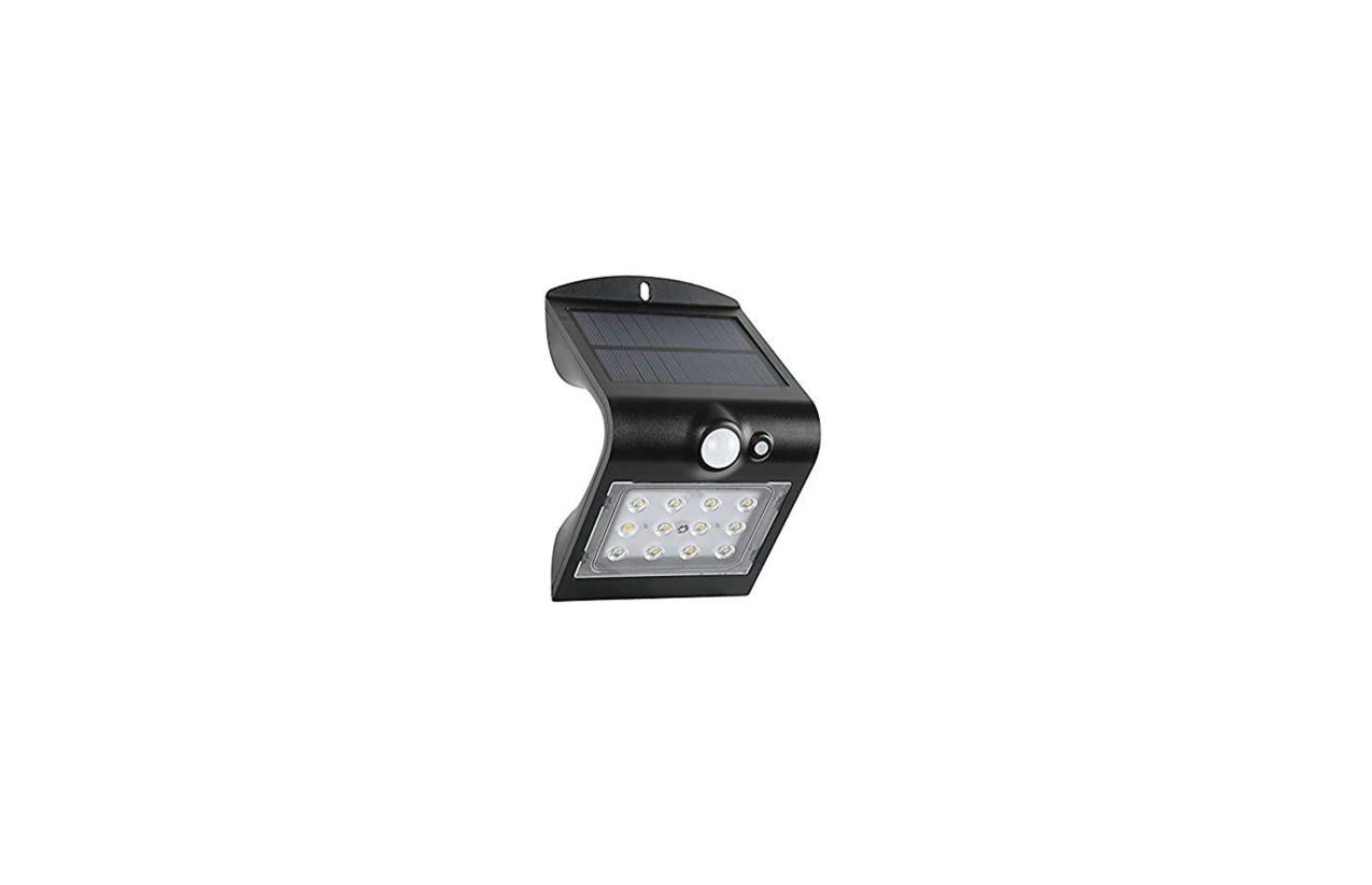 Aplique LED solar IP65 1,5W preto com detetor movimento