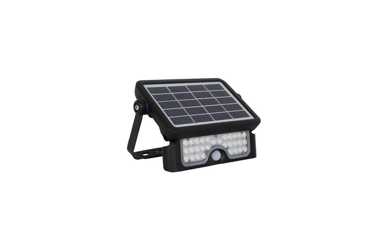 Projetor LED solar IP65 5W preto com detetor movimento