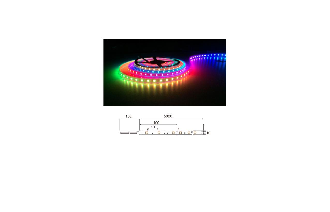 Fita LED RGB 24V 14,4W IP20 (5 metros)
