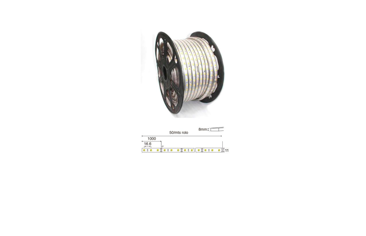 Fita LED dimável 230V 12W 3000K (branco quente) IP65 (1 metro)