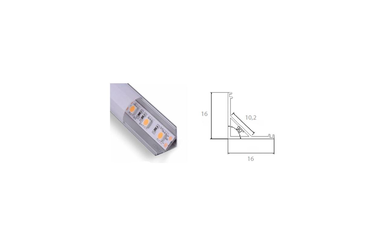 Perfil de alumínio para instalação de fita LED em cantos