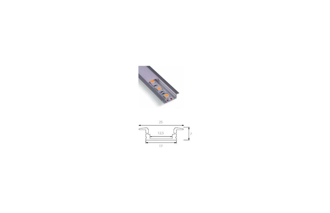 Perfil de alumínio para encastrar fita LED