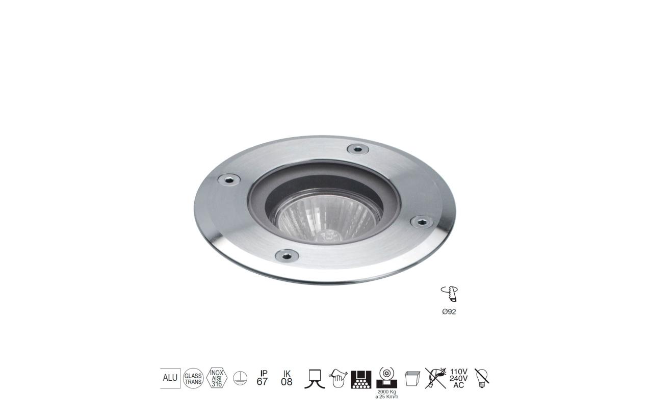 Projetor de chão BORA redondo IP67 aro inox 037A-G21X1A-30