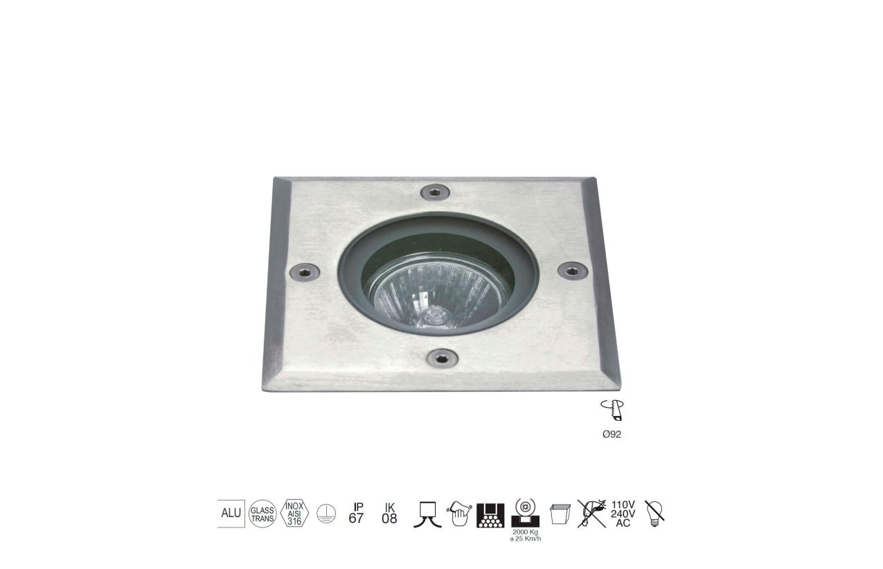Projetor de chão BORA quadrado IP67 aro inox 037B-G21X1A-30