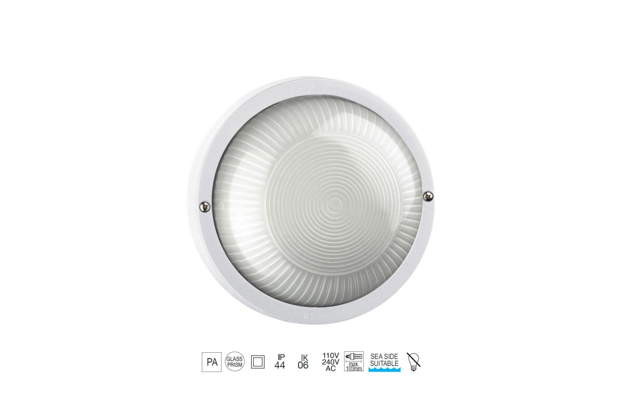 Plafonier FAR redondo E27 branco Ø250mm 107C-G05X1A-01