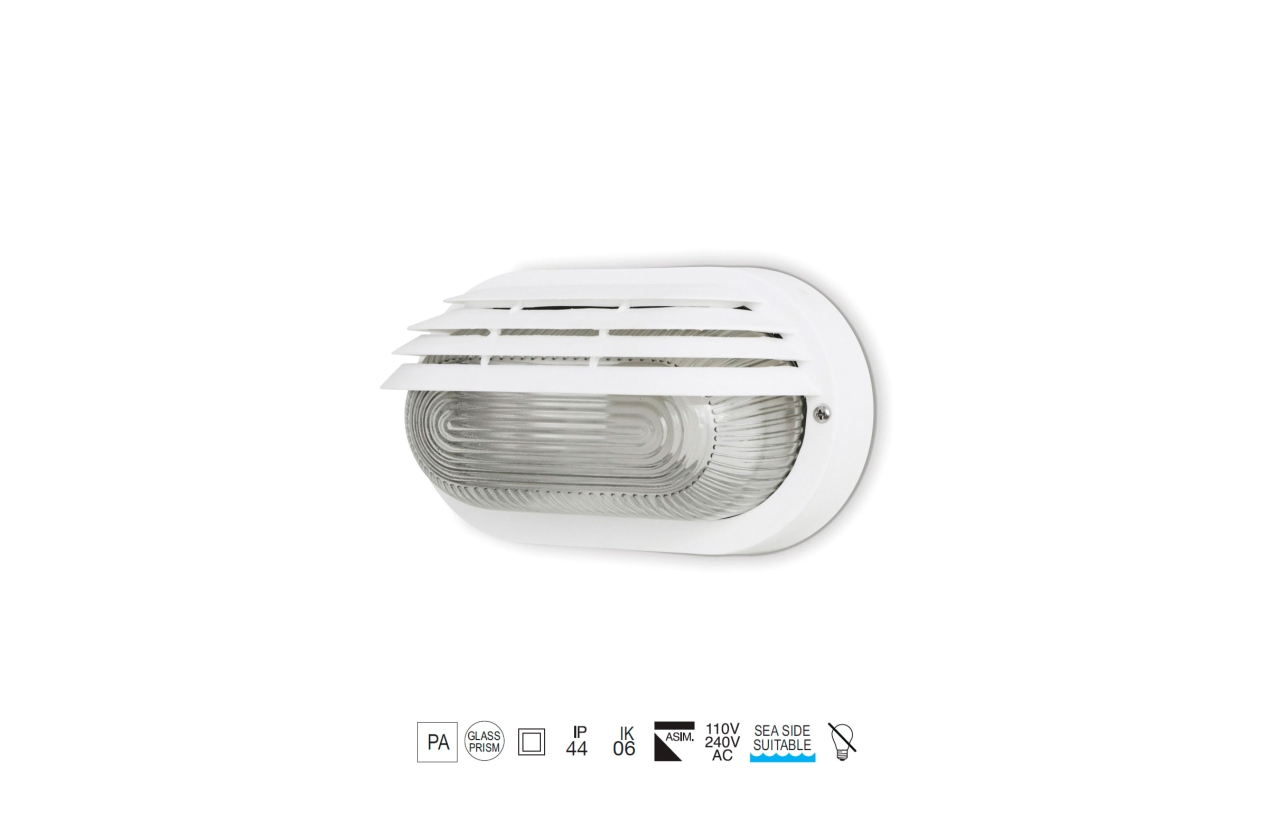 Aplique FAR oval IP44 E27 branco 210x115mm