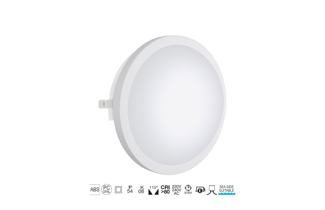 Aplique FAR redondo IP54 LED 12W branco 107I-L0212B-01