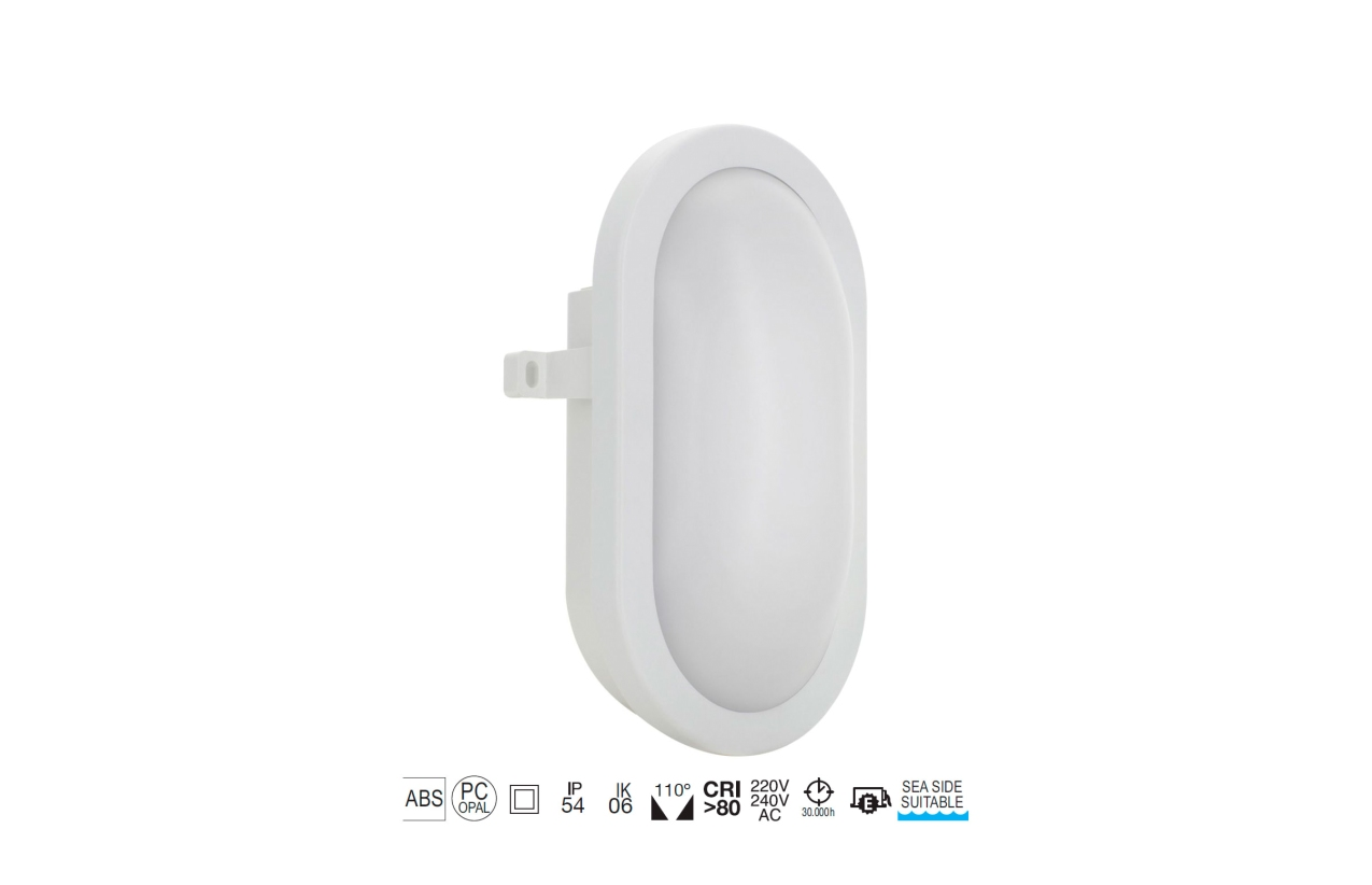 Aplique FAR oval IP54 LED 12W branco 107J-L0212B-01