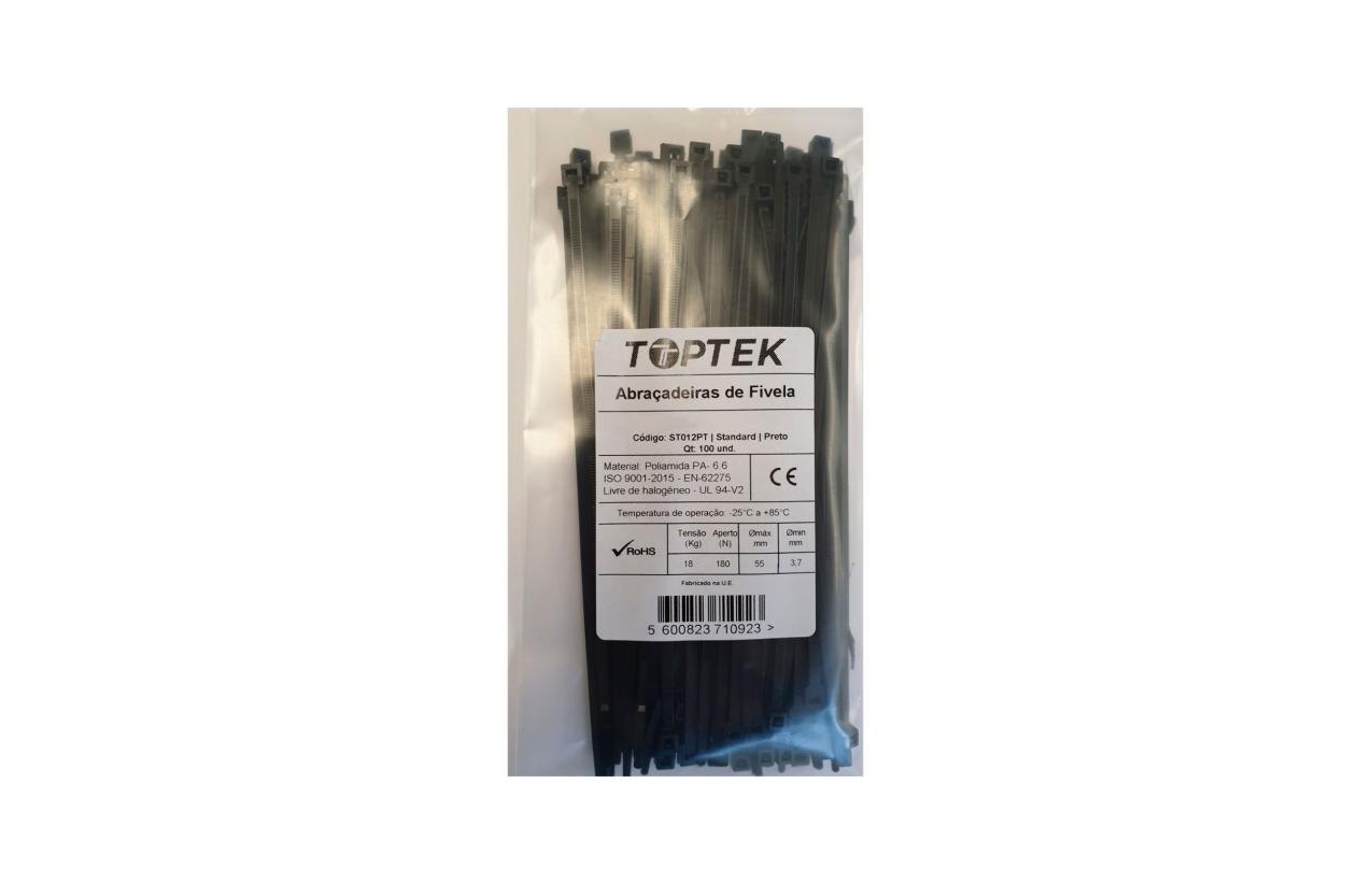 Abraçadeira de serrilha 200x4,8 mm preto com proteção UV